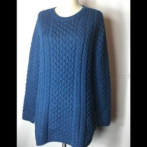 Lands' end blue chunky knit sweater size XL